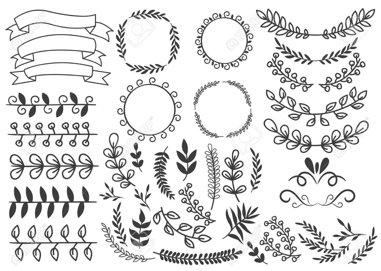 hand drawn decorative elements set with floral ornaments wreaths royalty free cliparts vectors and stock illustration image 60299720 hand drawn decorative elements set with floral ornaments wreaths