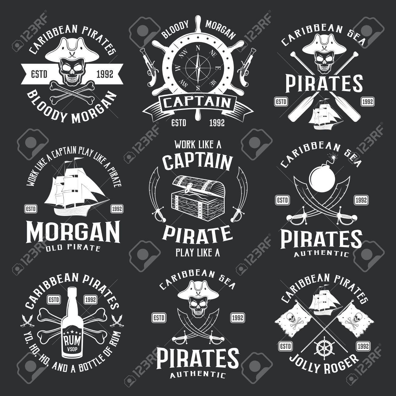 Caribbean pirates monochrome emblems with helm ship pistol saber caribbean pirates monochrome emblems with helm ship pistol saber jolly roger on black background isolated vector buycottarizona