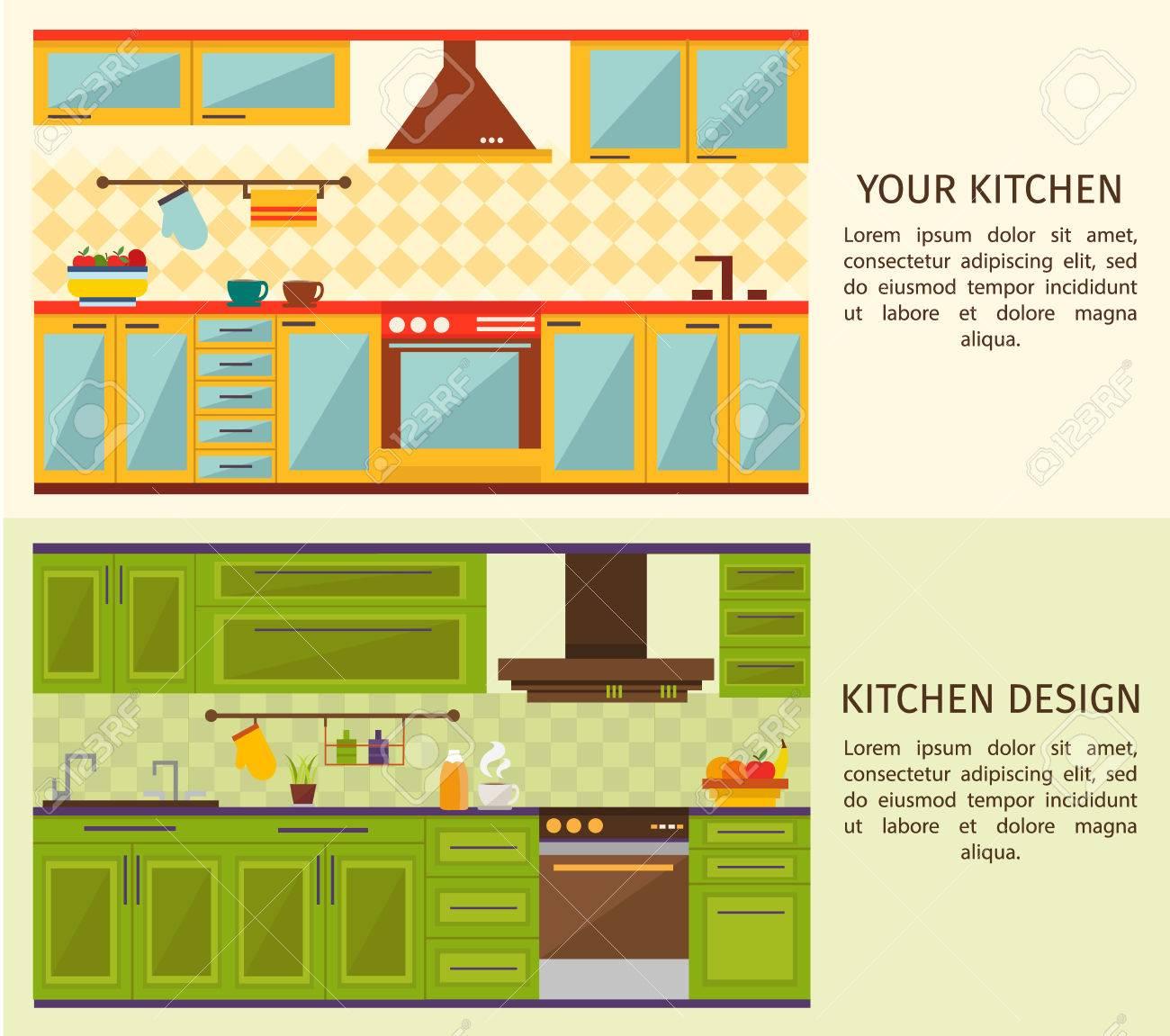 Küche Interieur Horizontale Banner Mit Gelb Blau Forniture Und ...
