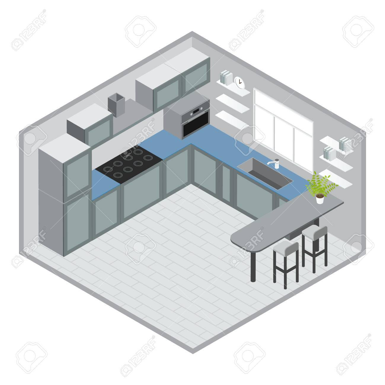 Diseño De La Cocina Con Ventana Isométrica Armarios Azules Grises De ...