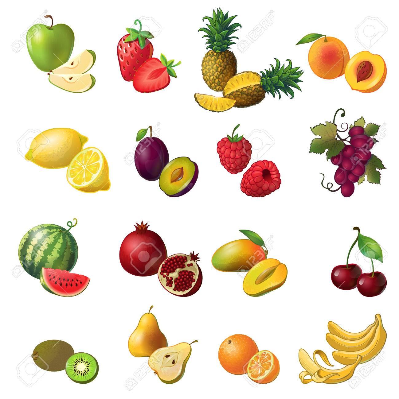 Früchte Isoliert Farbigen Icon-Set Mit Obst Und Beeren In ...