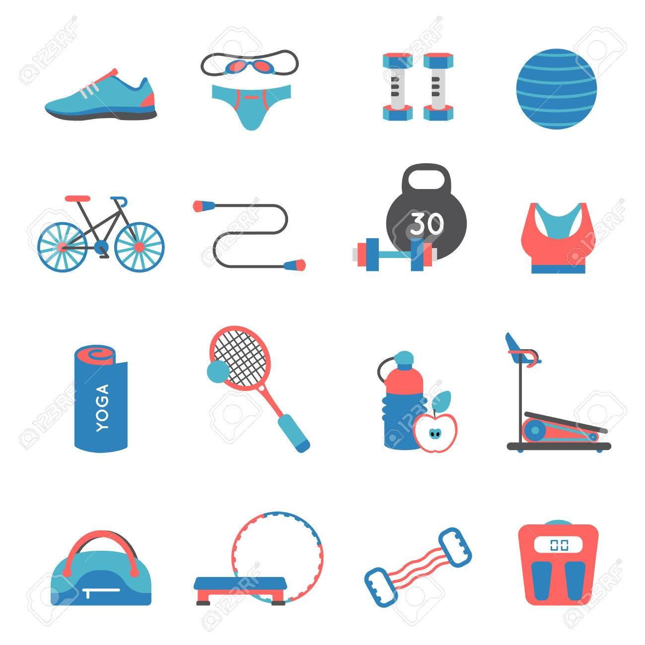 75b429d90ca6e2 Fitnessruimte gekleurde en geïsoleerde flat icon set met accessoires en  onderdelen van de atletiek vector illustratie