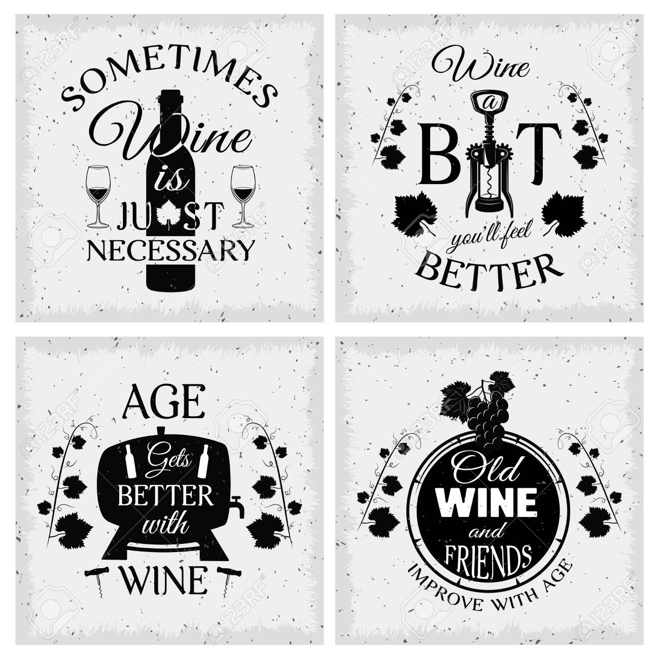 Wine Quotes Wine Quotes Typographic Monochrome Emblems With Grape Bunch And  Wine Quotes