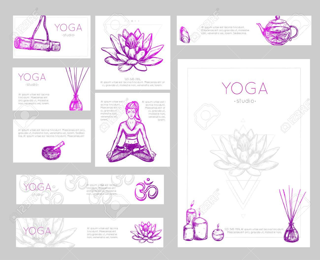 Colored Yoga Flyer Design With Yoga Studio Descriptions And Place ...