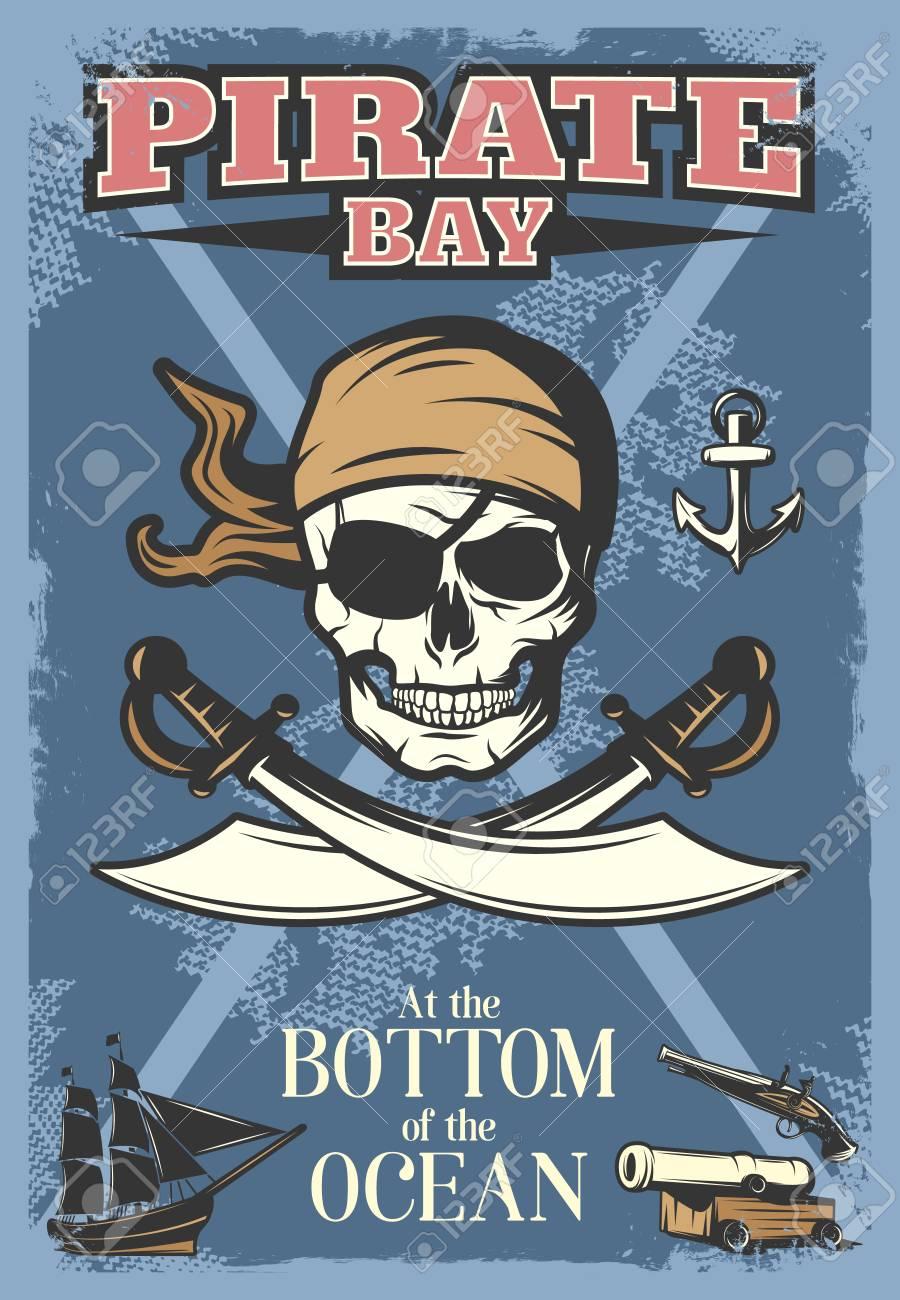 Color Poster Piratas Con Cráneo Grande Y El Título De La Bahía ...