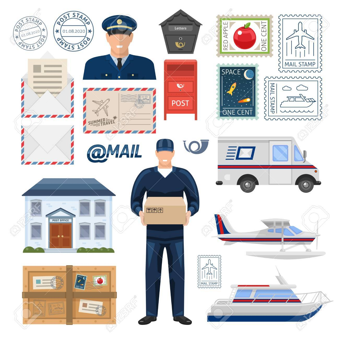 Post office set with employees building imprint and postage stamps transportation parcel and letters isolated vector