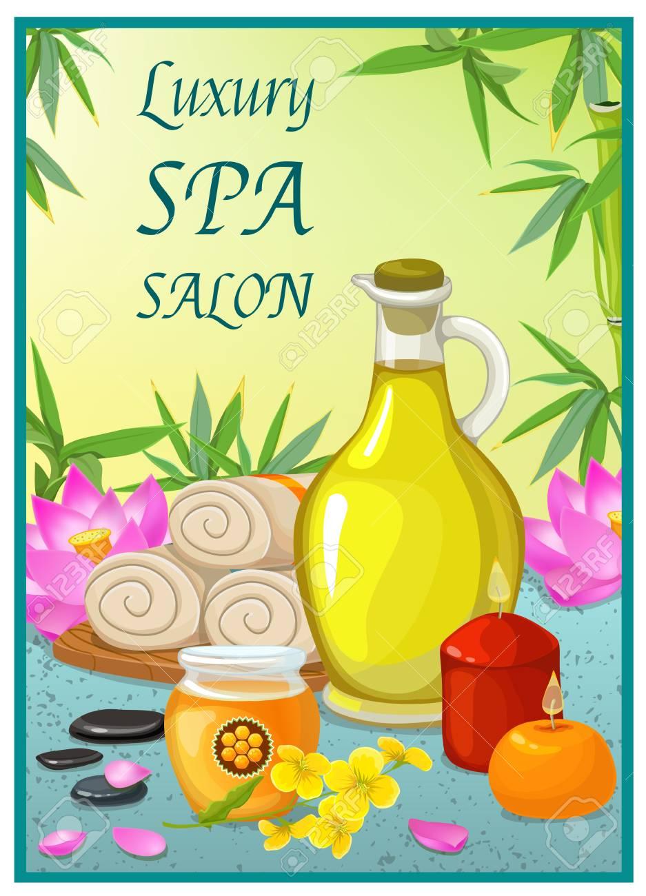 Spa Salon Plakat Mit Kosmetischen Ol Glas Honig Kerzen Und