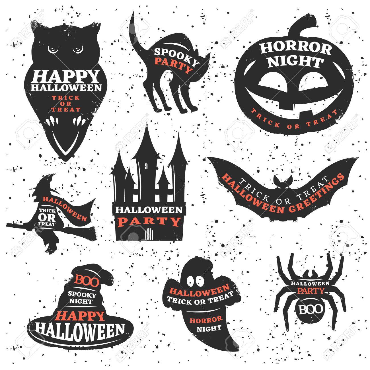 Halloween Elemente Und Zitate Gesetzt Mit Traditionellen Sprüche