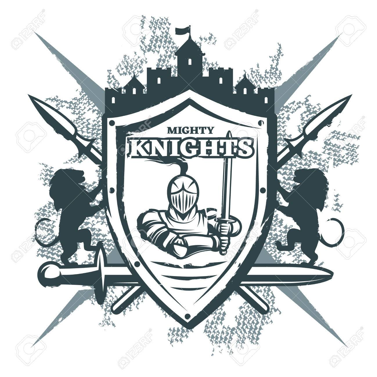 Mighty knights print with warrior at shield castle crossed weapon mighty knights print with warrior at shield castle crossed weapon heraldic symbols on grunge background vector biocorpaavc Gallery