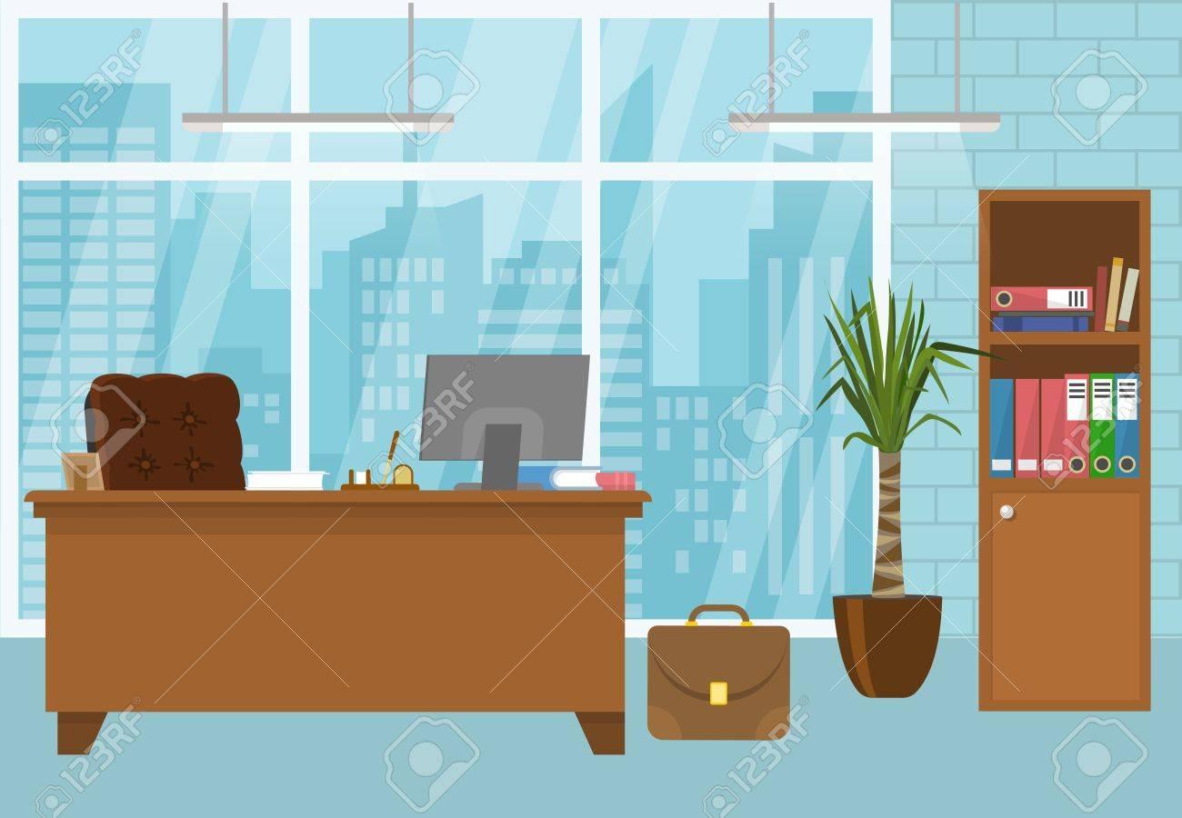 Intérieur de bureau moderne de couleur bleue avec des meubles brun