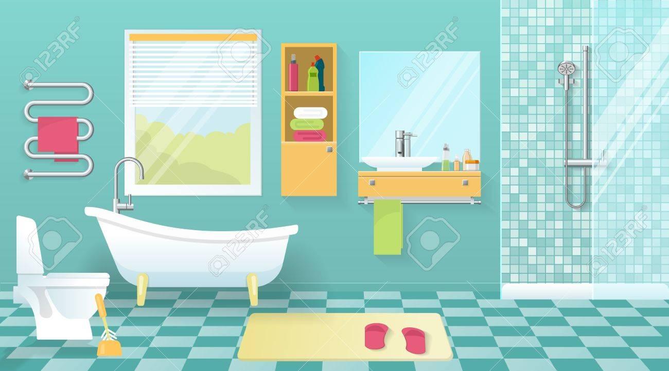 Banque Du0027images   Intérieur Salle De Bains Moderne Avec Des équipements  Sanitaires Fenêtre De Meubles Jaune Murs Bleus Et Carrelage Illustration  Vectorielle
