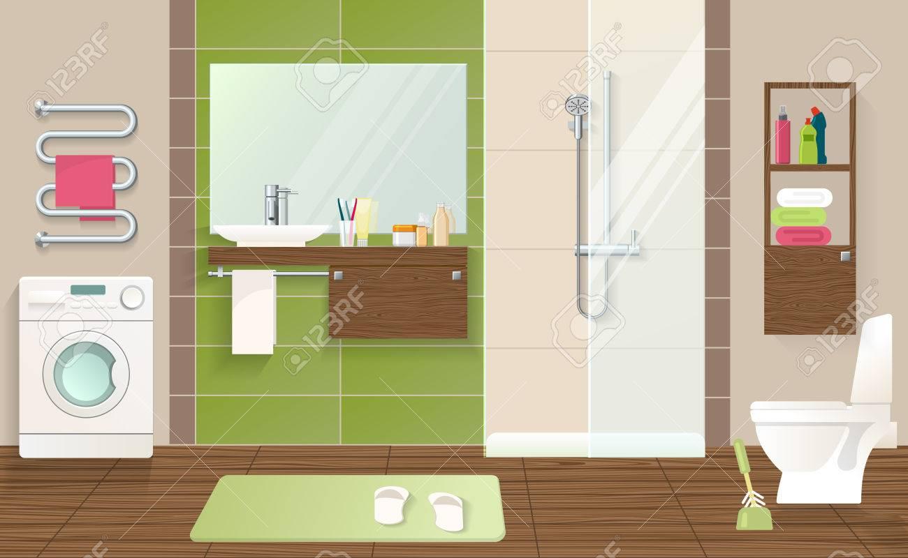 Badezimmer Innenraumkonzept Mit Waschmaschine Sanitarkeramik Grun