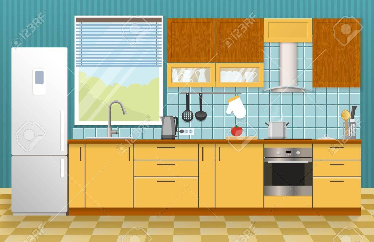 Kuche Interieur Konzept Mit Fenster Gelb Schranke Und Schranke Blau