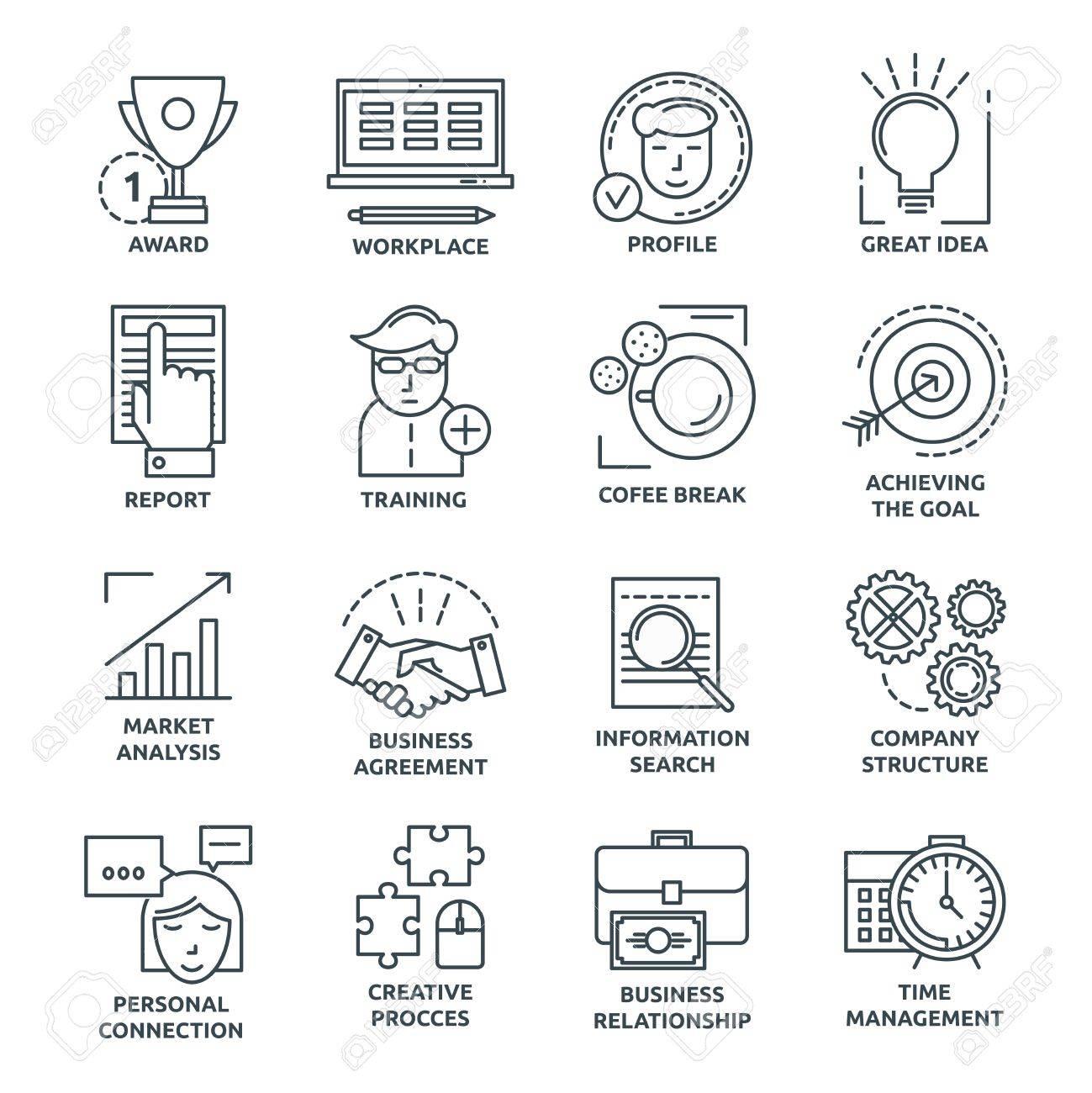 Coworking Iconos Lineales Monocromáticos Con La Estructura De La Empresa Y El Lugar De Trabajo Logro De Metas Y Capacitación Ilustración Vectorial