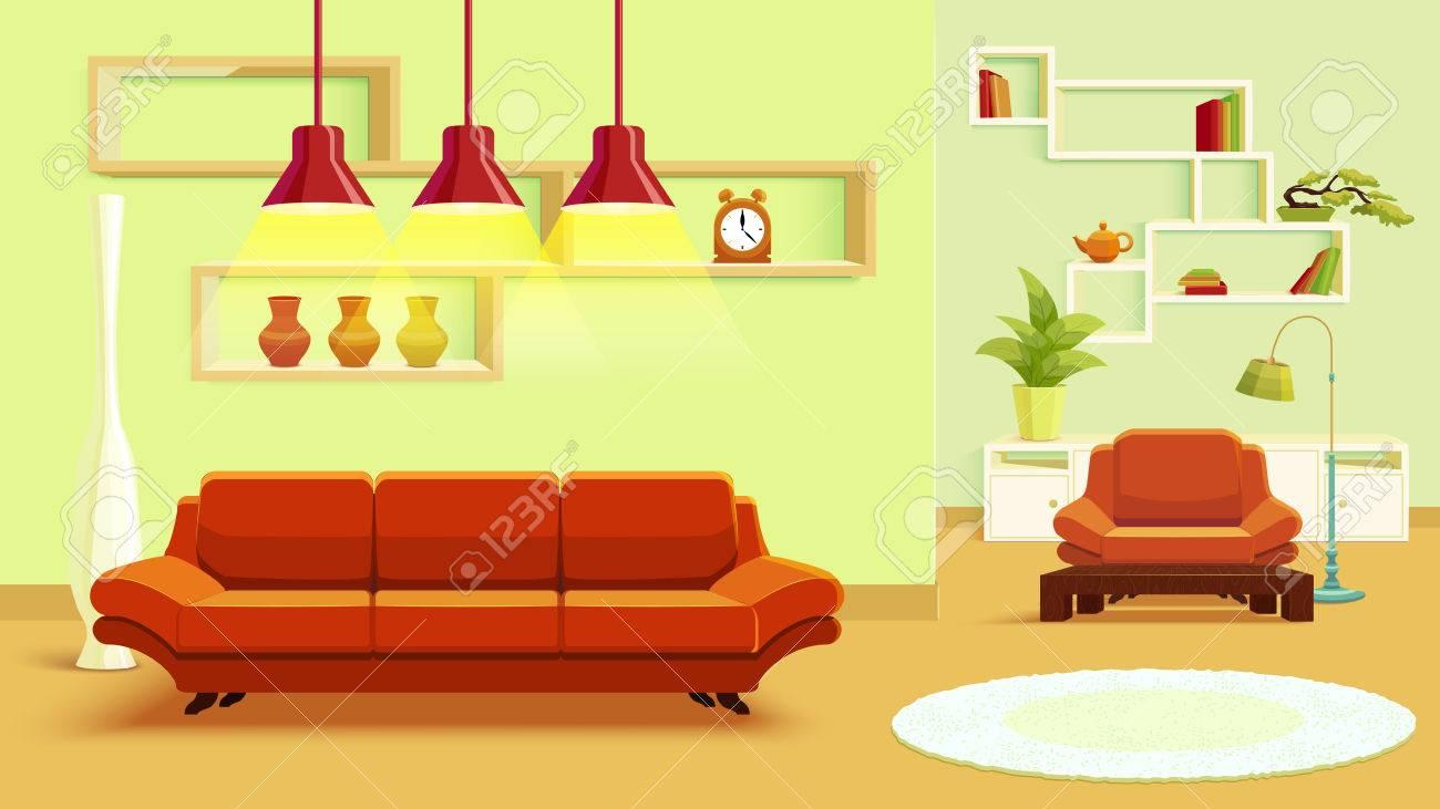 Salon Design D\'intérieur En Couleur Verte Beige Avec Des Meubles ...
