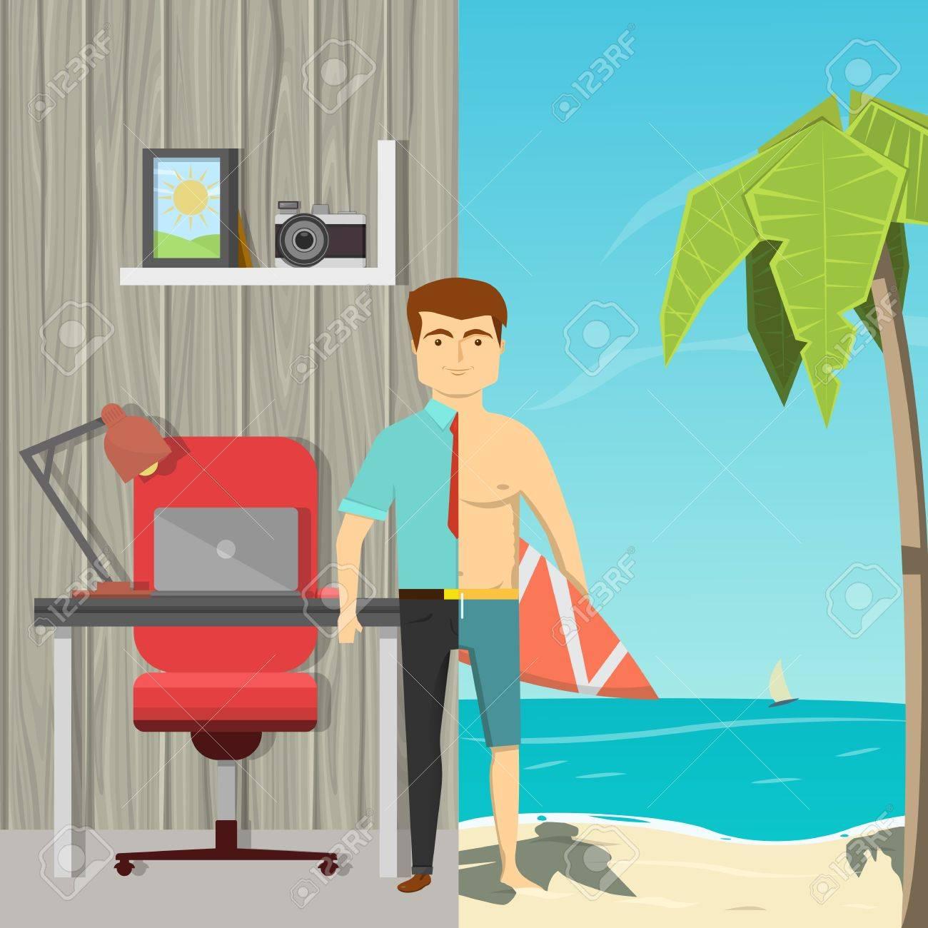 Vettoriale immagine piatta cartone animato di uomo diviso per metà