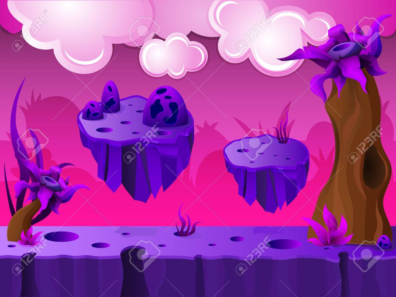 Purple Crater Land Game Design With Platforms And Clouds In Sky - Game design platform