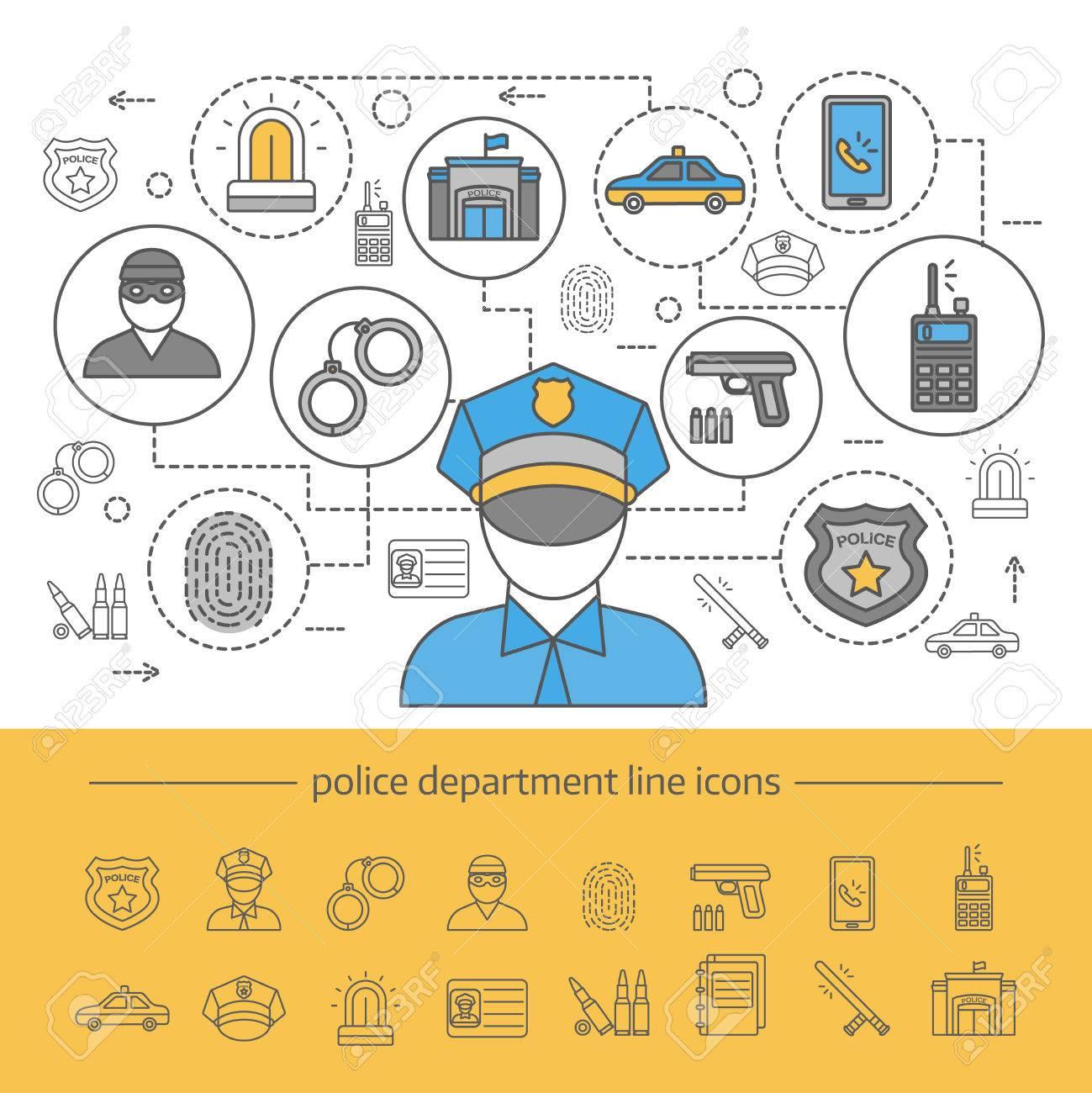 fd7c6162a266 Composición de la línea del departamento de policía con banner e icono  aislado en la ilustración