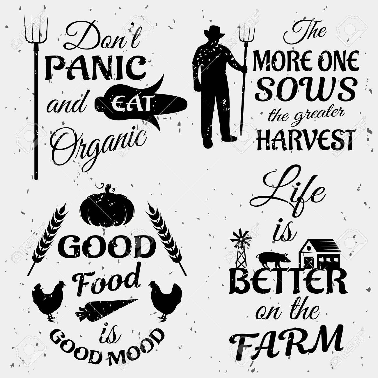 Farm Quotes Farm Quotes Monochrome Set With Typographic Sayings Animals And