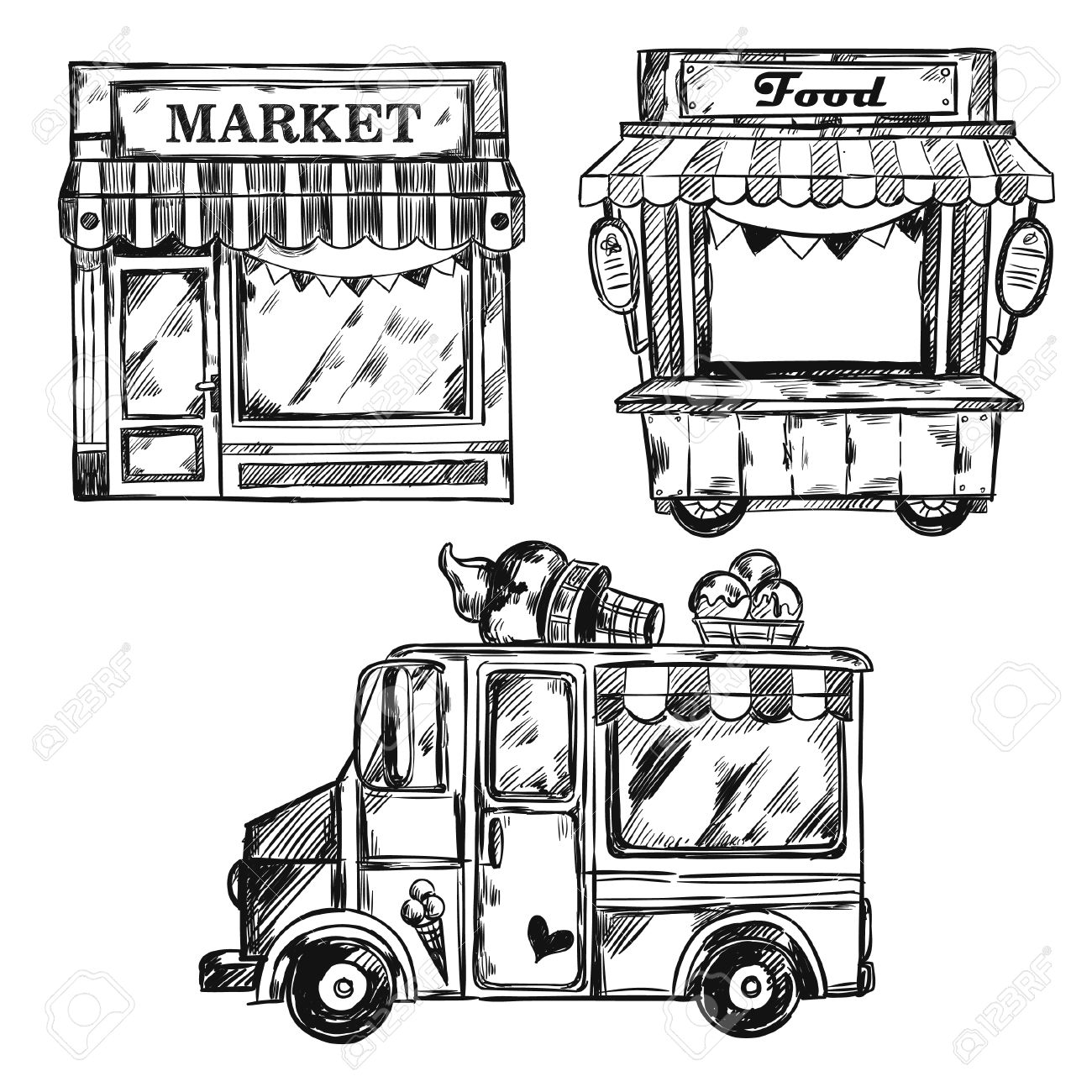Vintage Shop Facade Icon Set With Different Types Of Food Markets ...