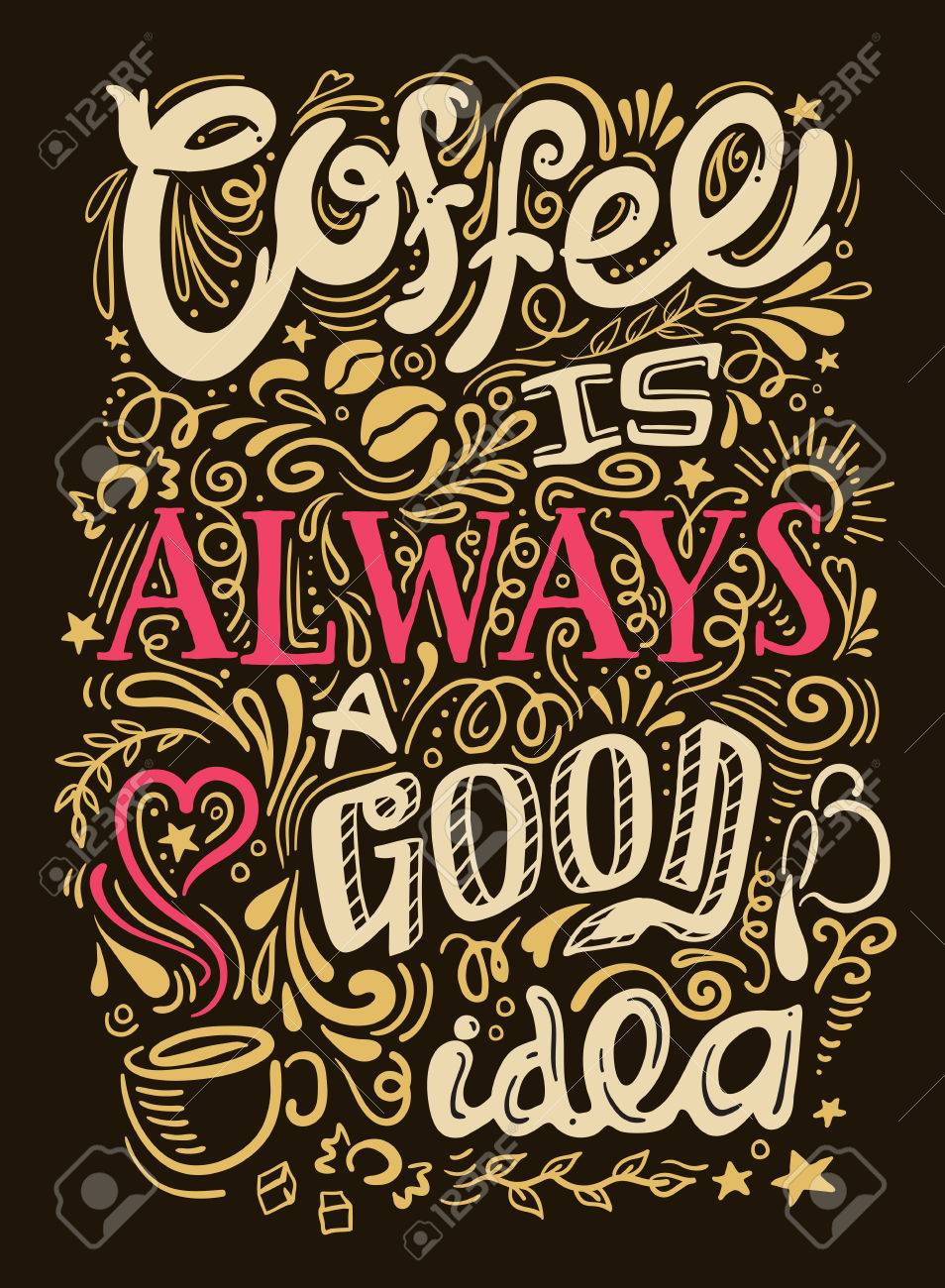 Coffee quote lettering looks like graffiti on black background with coffee is always good idea description