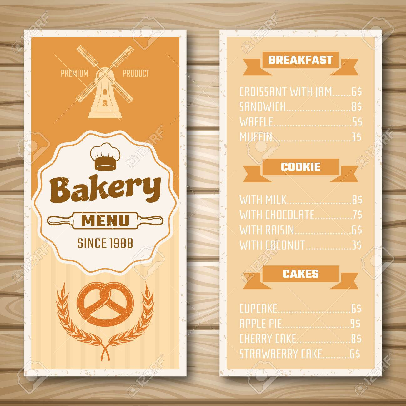 Bakery shop menu with mill at cover and product price list on bakery shop menu with mill at cover and product price list on wooden background isolated illustration altavistaventures Choice Image