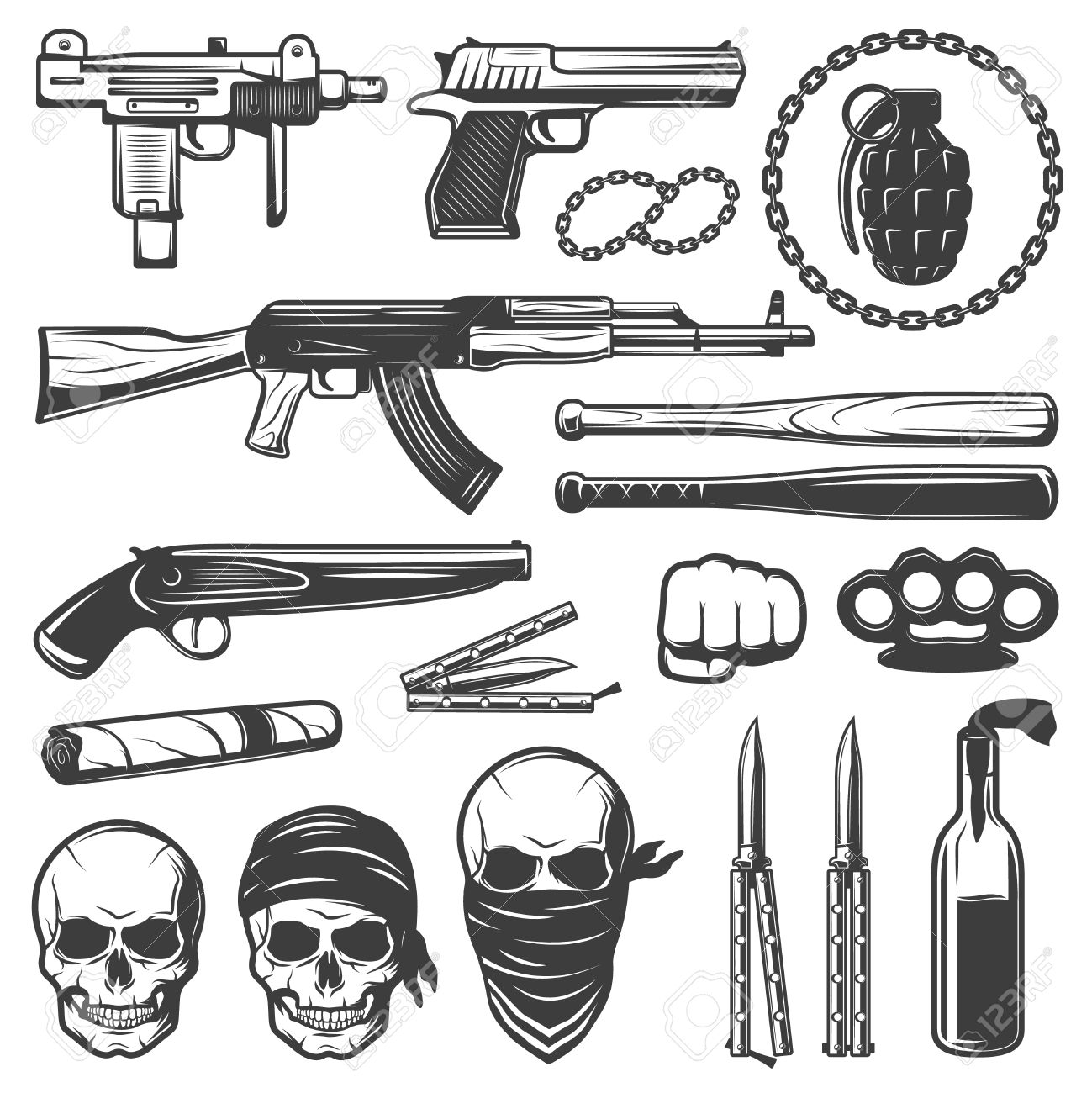 Set with various isolated gangster symbols with weapons guns set with various isolated gangster symbols with weapons guns bats knives knuckleduster and gang skulls flat biocorpaavc