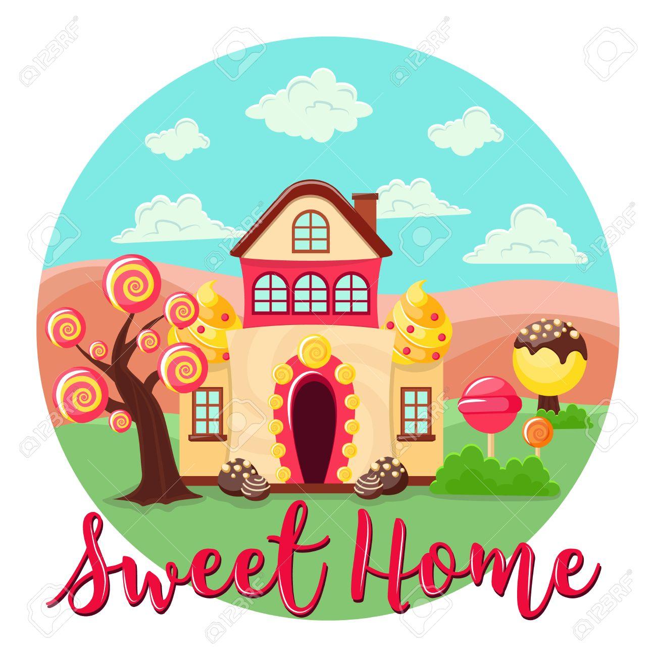 Banque dimages composition de cercle avec une maison de dessin animé faite de bonbons et de fantastiques arbres à bonbons paysage et illustration de