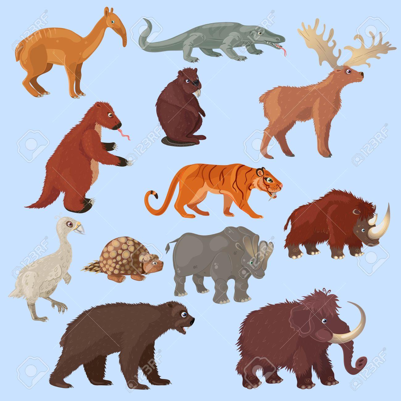 Animaux D Age De Glace Avec Mammouth Mis Ours Et Cerfs Oiseaux