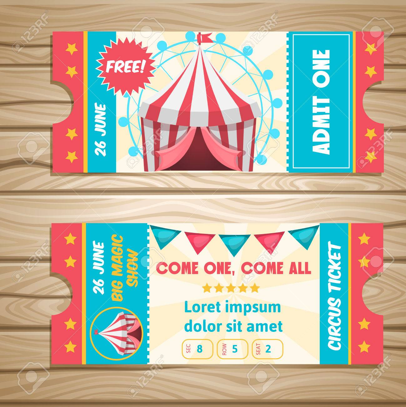 Event tickets for magic show in cartoon style with circus tent flags and editable text illustration  sc 1 st  123RF.com & Event Tickets For Magic Show In Cartoon Style With Circus Tent ...