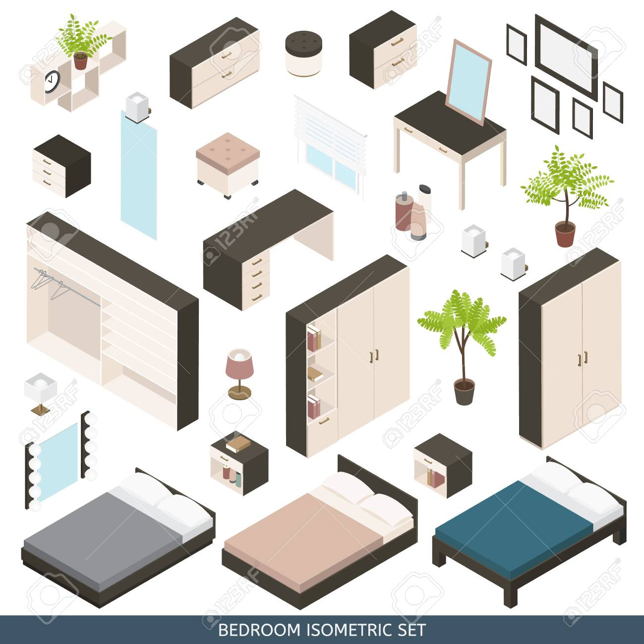 Isometric Icon Set Of Create A Bedroom With Furniture And ...