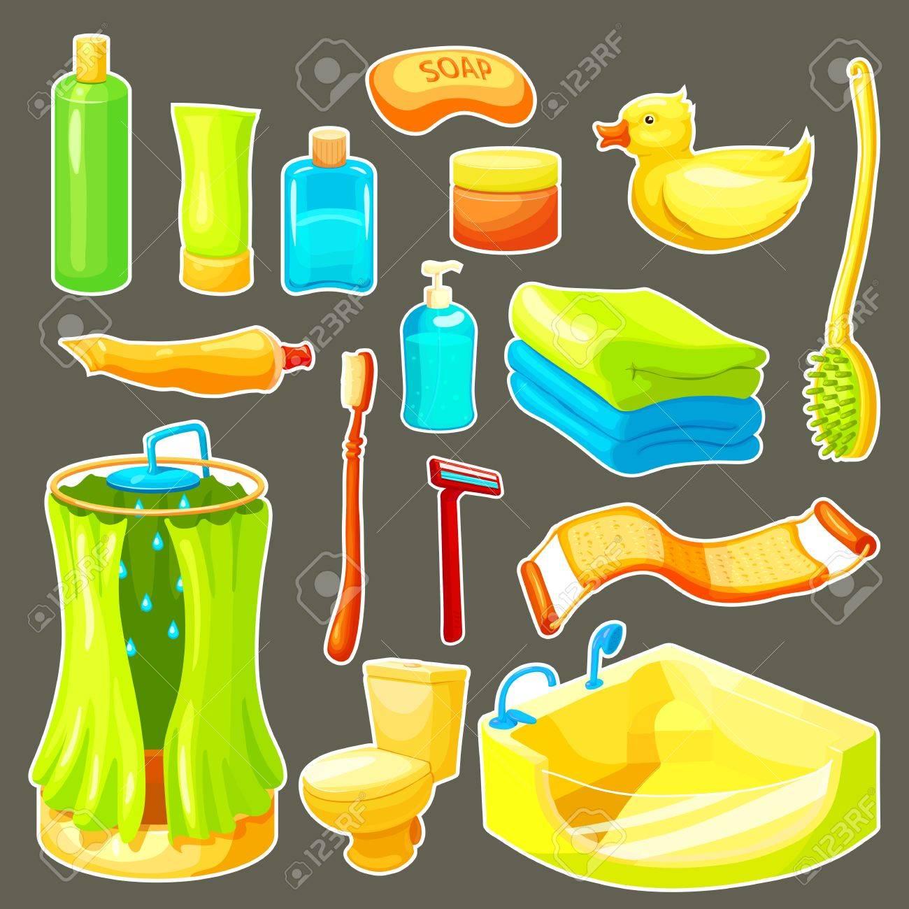 Color Y Aislada Baño De Dibujos Animados Conjunto De Iconos Cosas  Necesarias Para La Ducha Y