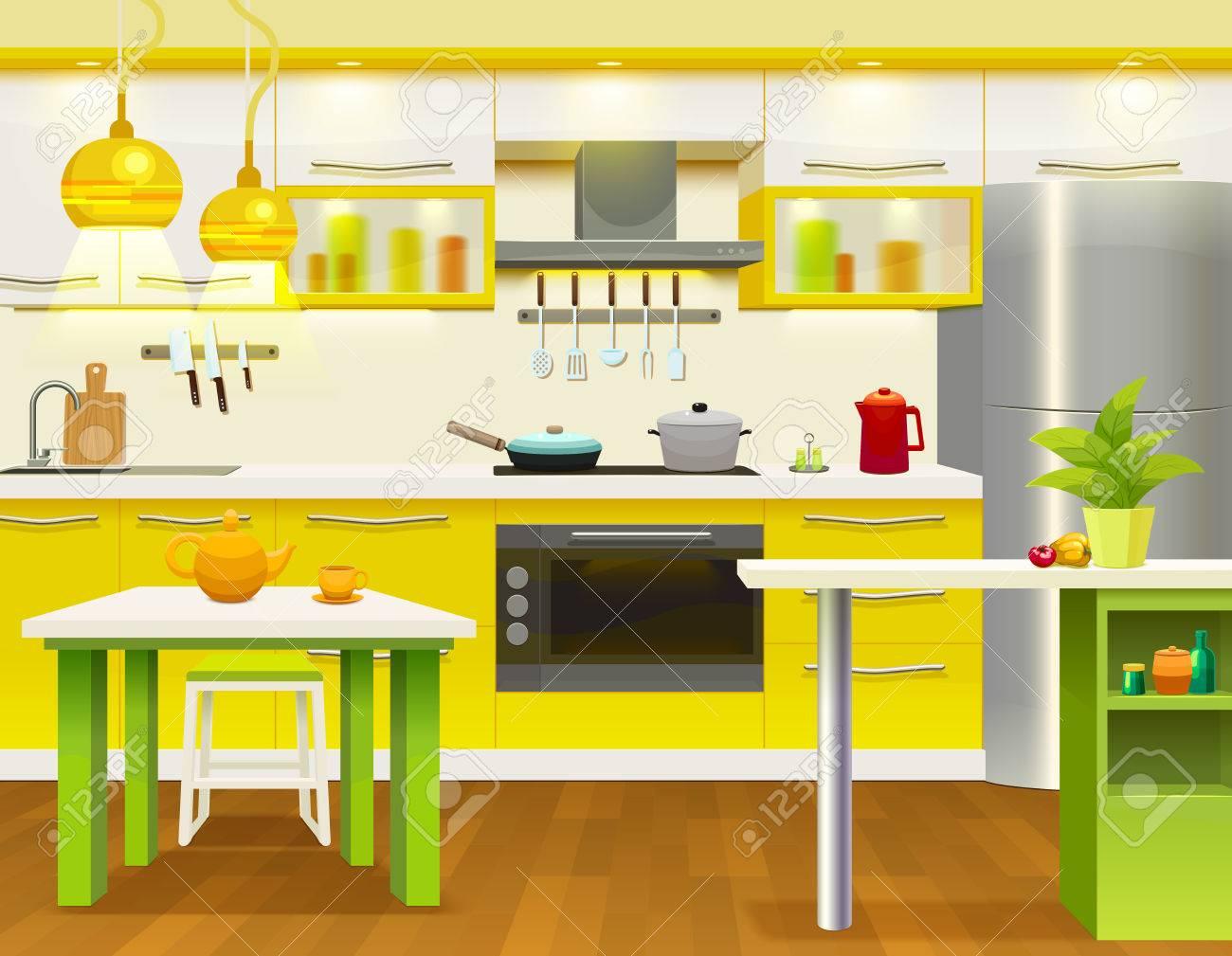 Color Moderno Diseño Interior De La Cocina Con Muebles De Cocina ...