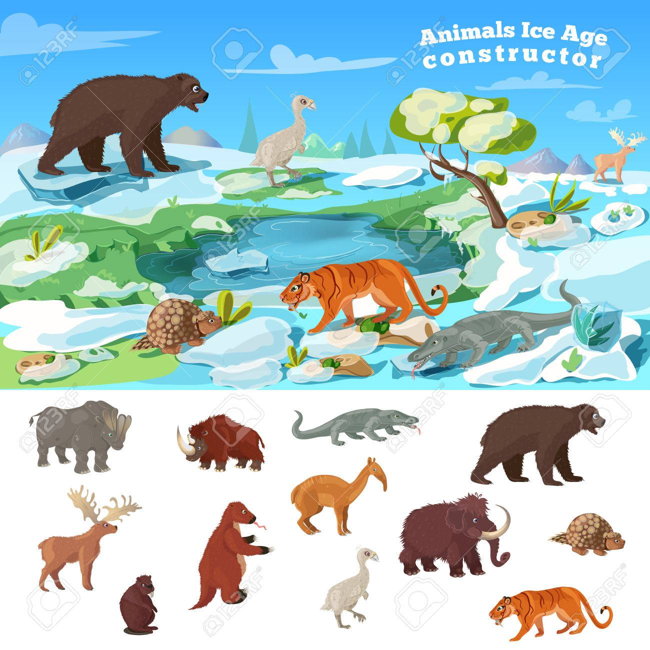 Animals ice age concept with wildlife design and set of beasts..