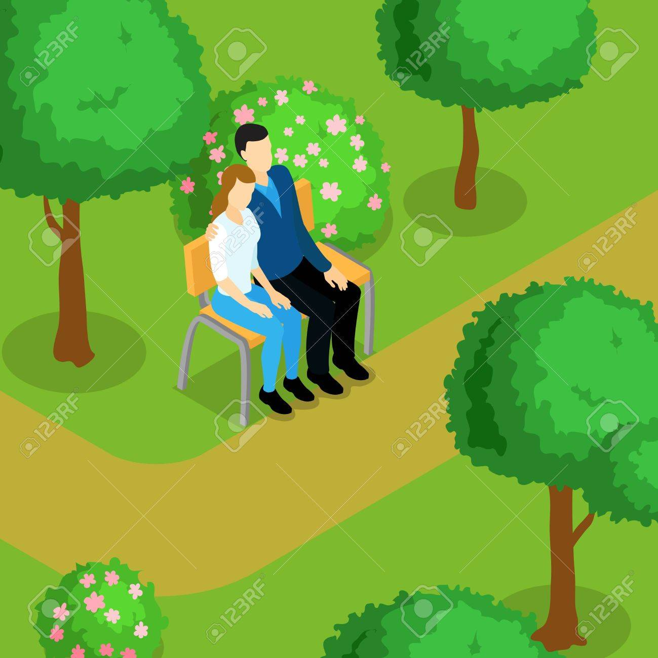 Love Couple Isometric Composition Two Lovers Are Sitting On A