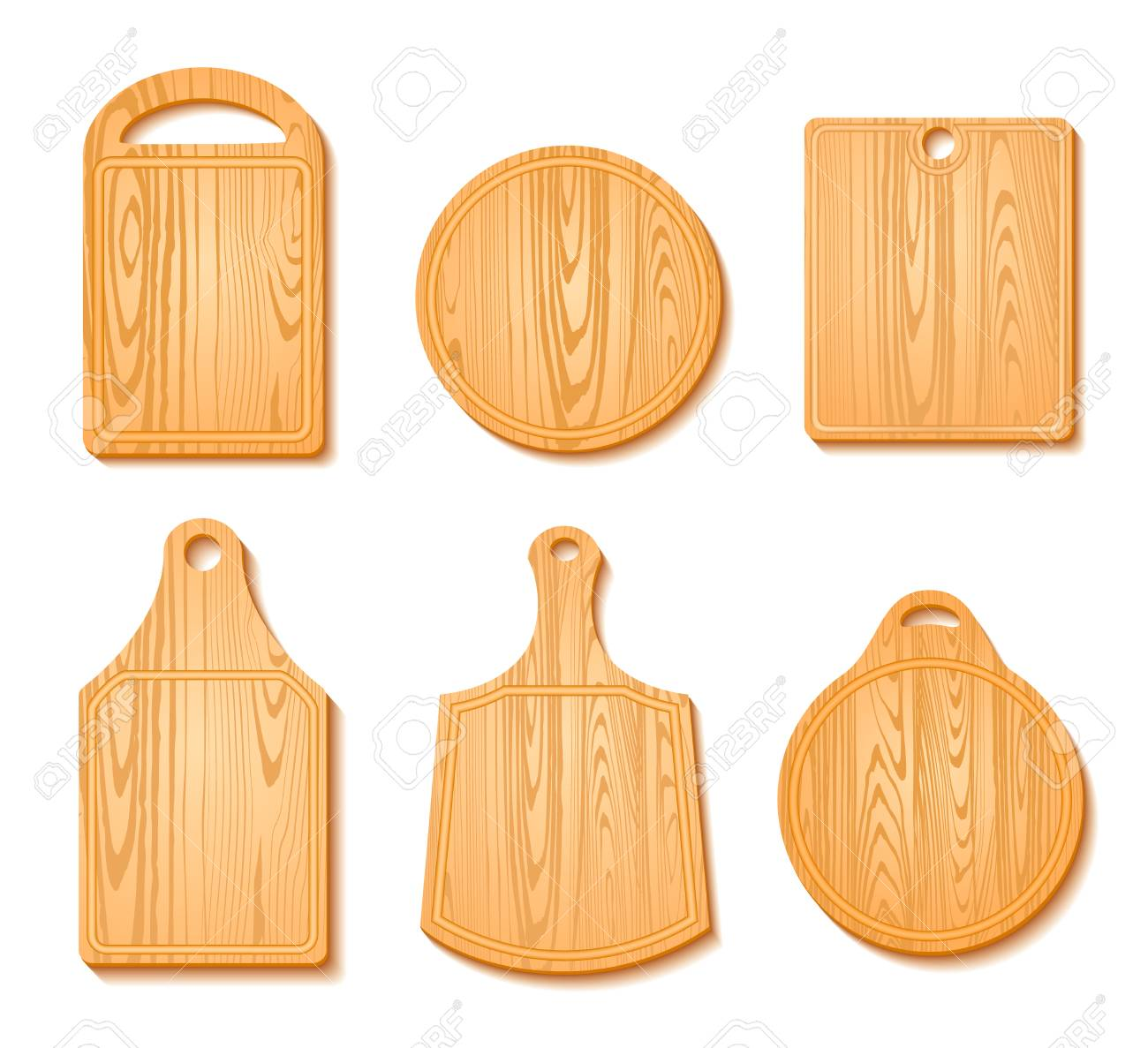 Cutting Board Icon Set In Different Shapes Wooden Isolated On Royalty Free Cliparts Vectors And Stock Illustration Image 65707649