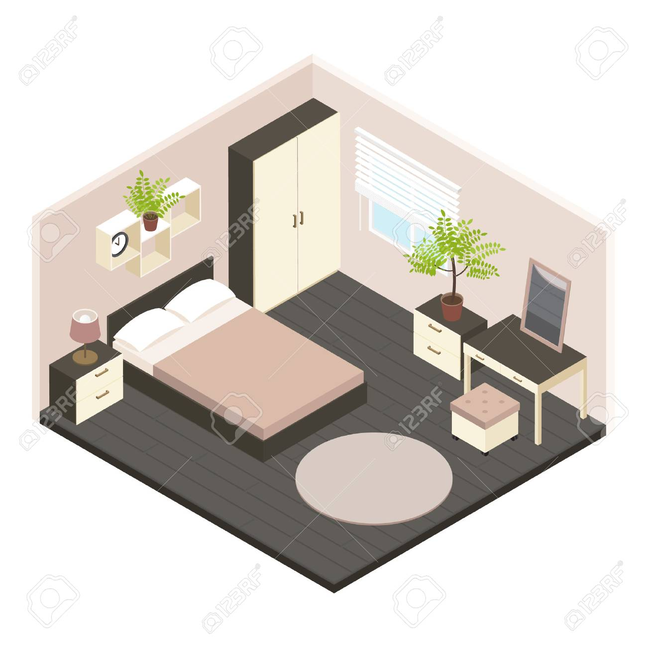 3d Isometric Bedroom Interior With Newly Renovated In Volumetric Style And  Minimalist Style Illustration Stock Vector