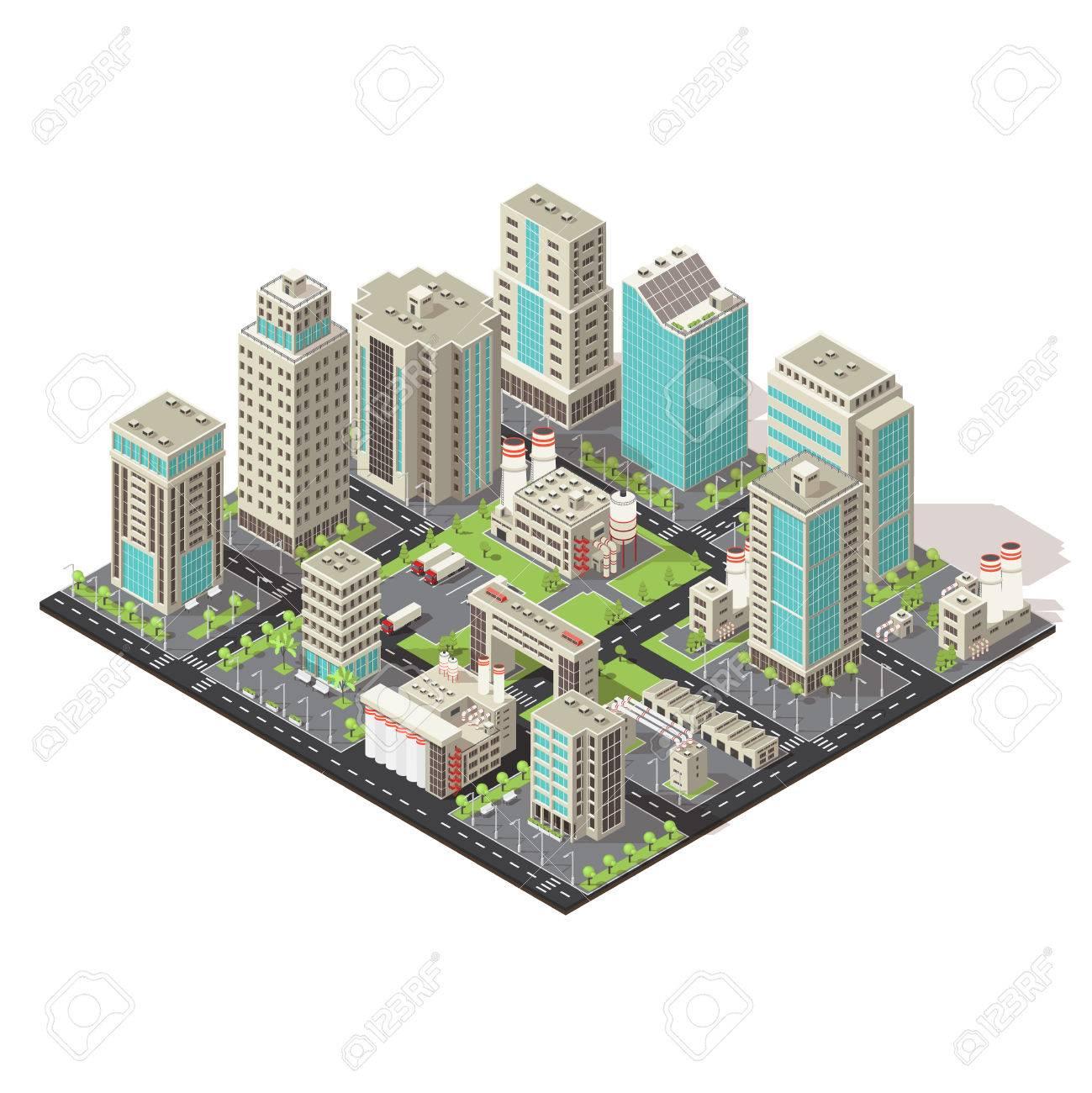 Ciudad Concepto Isométrica Con Oficinas Y Naves Industriales Camiones Ilustración Infraestructura Vial Y Medioambiental