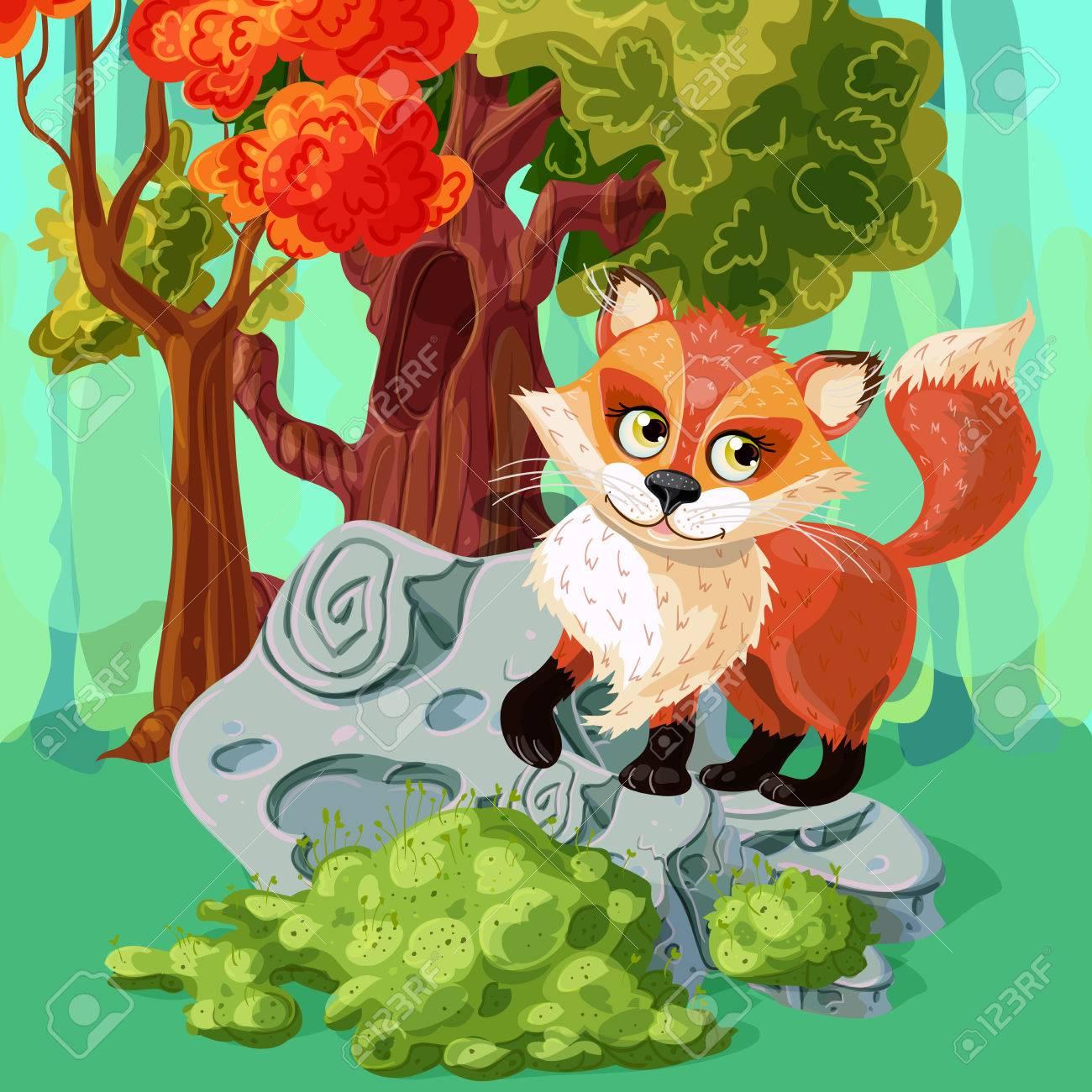 Bosque Zorro Rojo En Piedra Gris Cerca Del árbol Hueco Con Estilo De ...