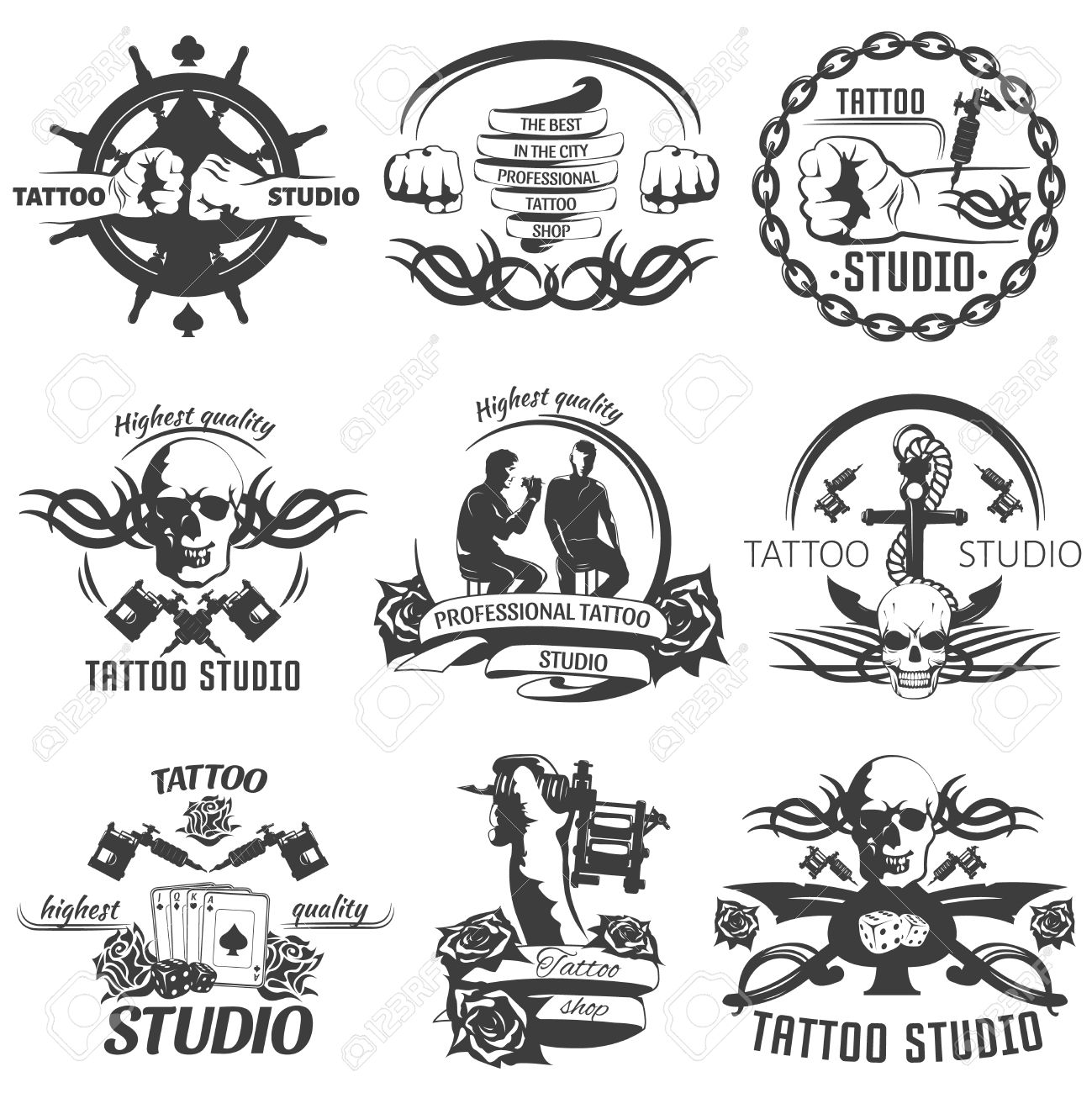 Tattoo Studio Black White Emblems With Master Anchor Rudder Playing