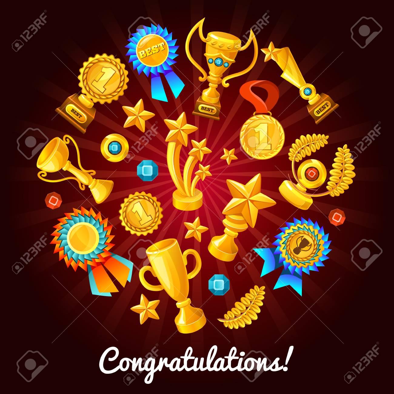 Medallas De Oro Composición De Trofeos De Oro Con El Conjunto De ...