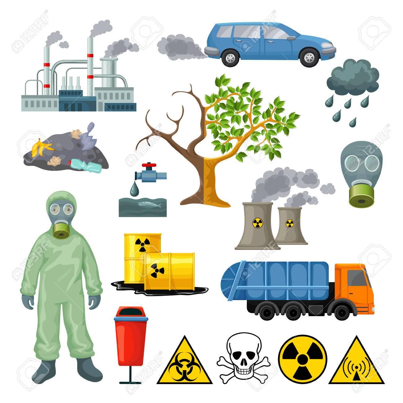 Dibujos Animados Iconos De Contaminación Ambiental Conjunto Con