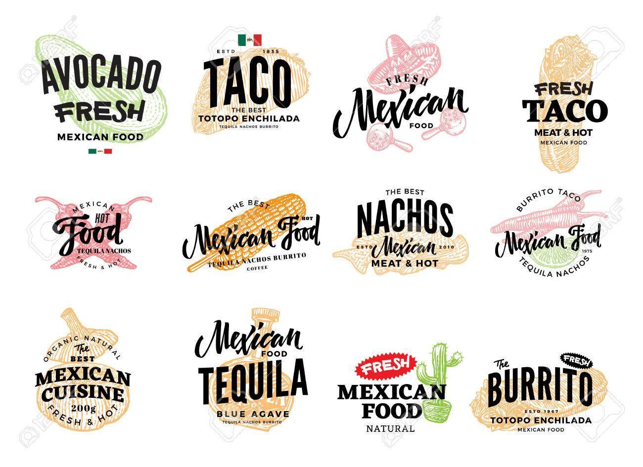 hand drawn mexican food logos royalty free cliparts vectors and rh 123rf com mexican food logo psd mexican food restaurant logos