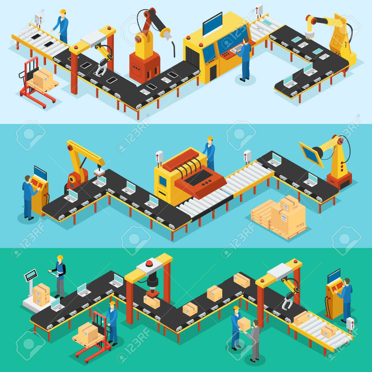 Isometric Industrial Factory Horizontal Banners - 72713744