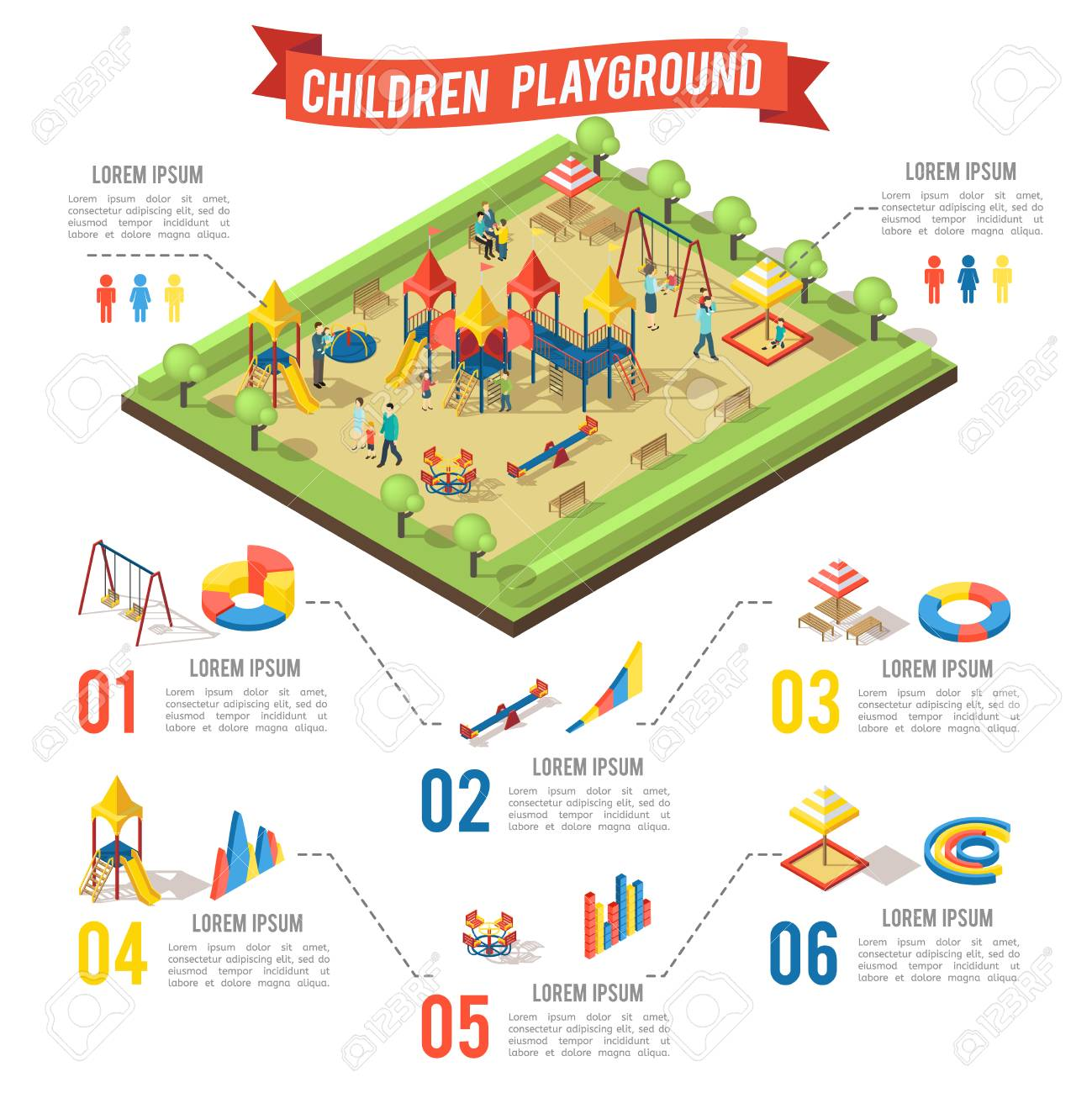 Isometric playground infographic concept with family children swing bench slide carousel sandbox and diagrams vector illustration - 74475633