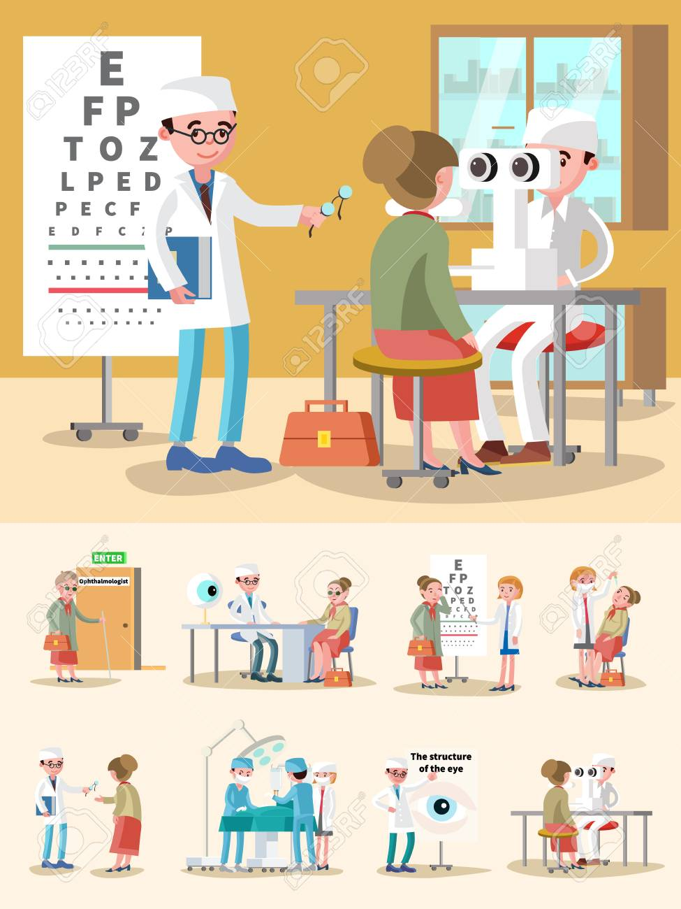 Medical treatment ophthalmology composition with consultation eye signt test diagnostic optical correction surgery procedures vector illustration - 74536651
