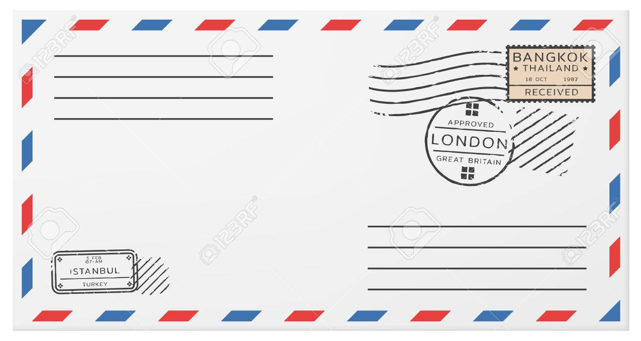 blank horizontal postal envelope template with postage stamps