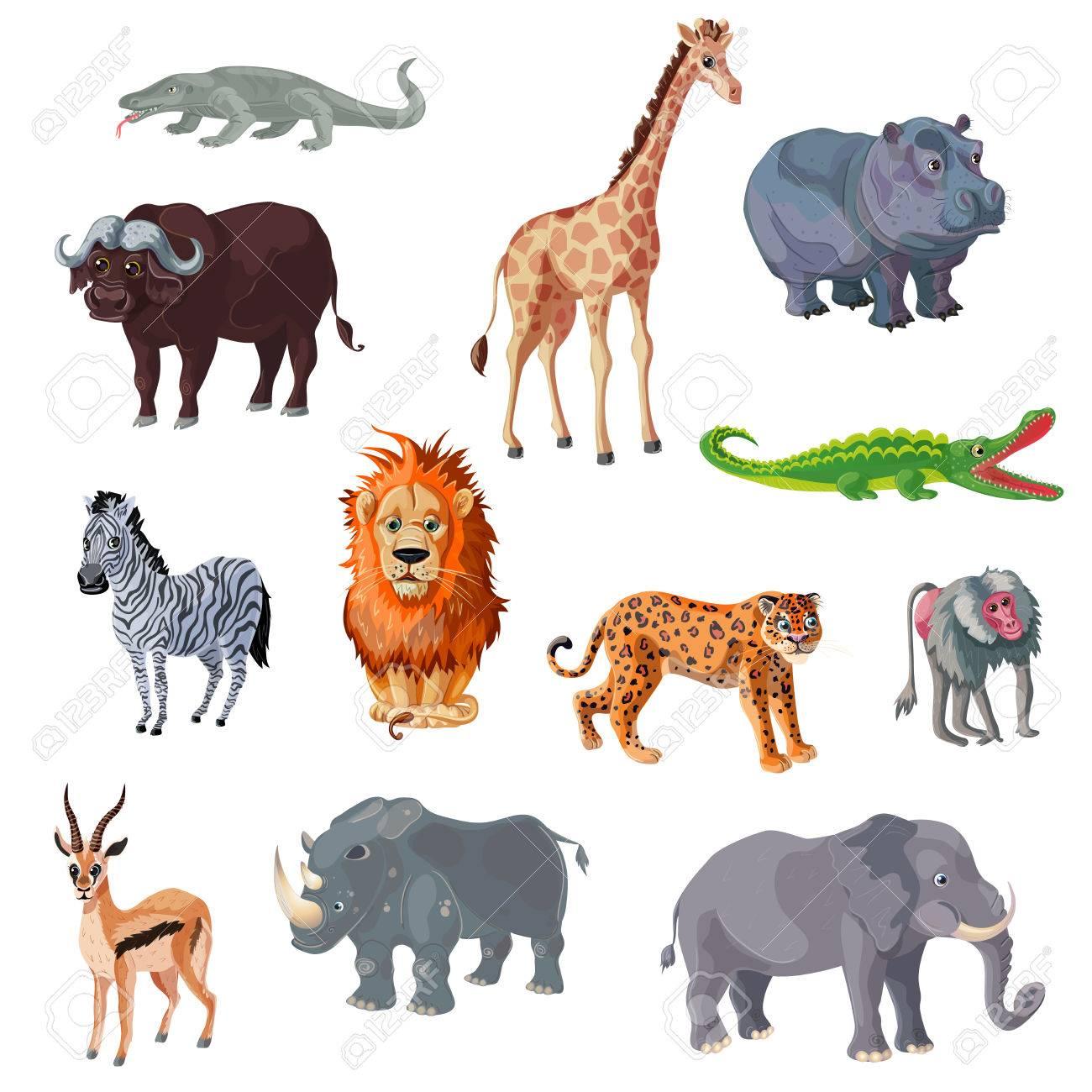 Cartoon African Animals Set - 75264180