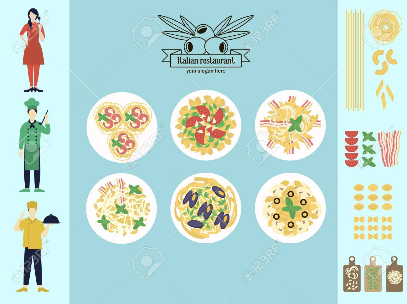 Flat Italian Restaurant Infographic Concept With Pasta And Spaghetti ...