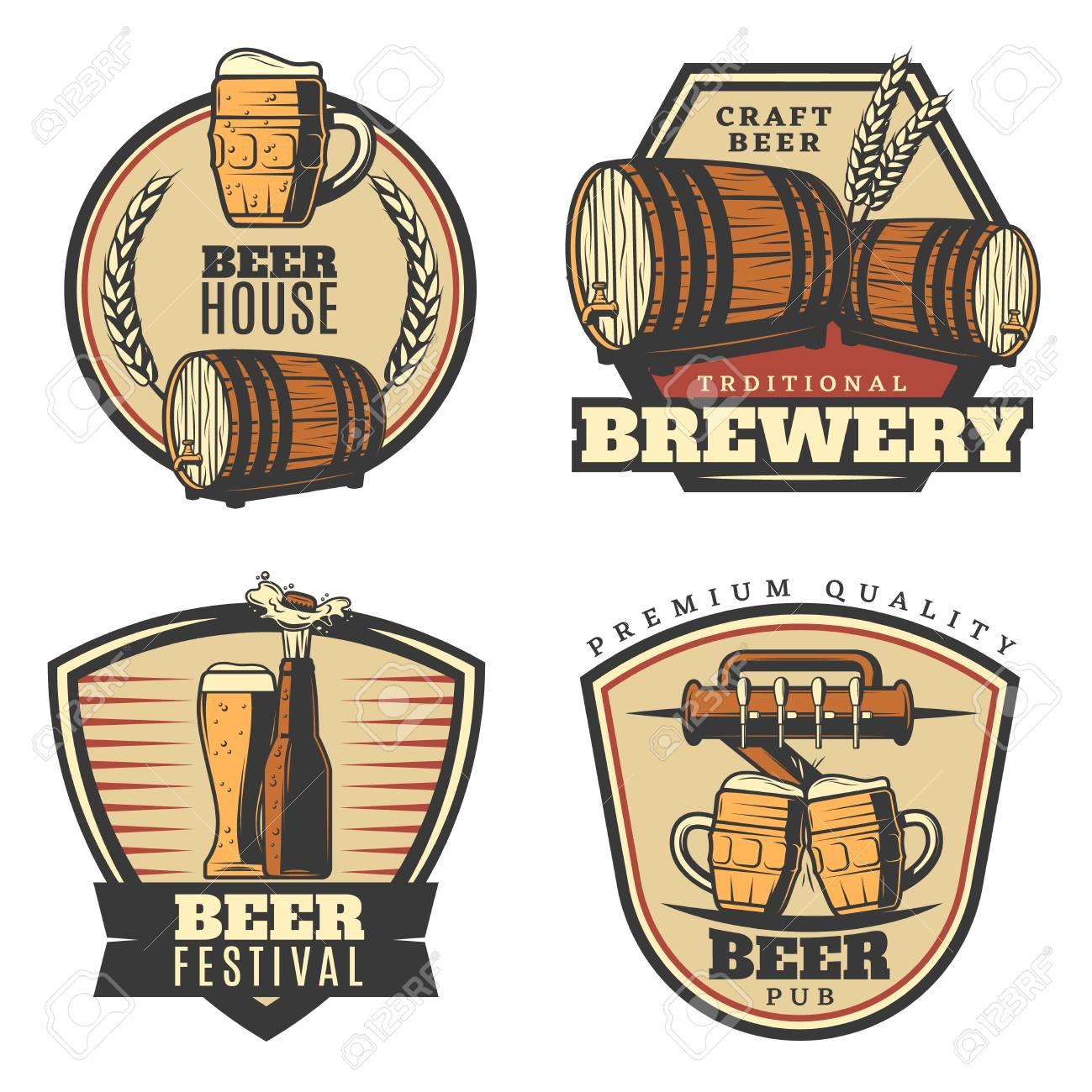 Colorful Vintage Brewing Emblems Set With Beer Mug Glass Bottle